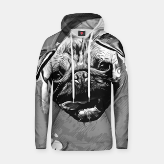Miniatur gxp hungry pug dog vector art black white Cotton hoodie, Live Heroes