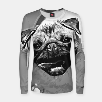 Miniatur gxp hungry pug dog vector art black white Woman cotton sweater, Live Heroes