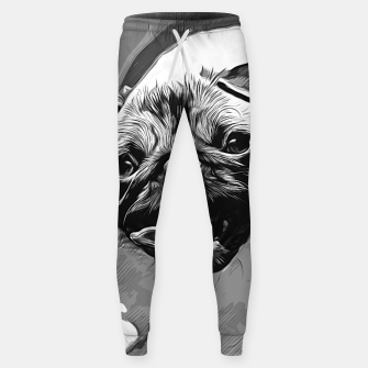 Miniatur gxp hungry pug dog vector art black white Cotton sweatpants, Live Heroes