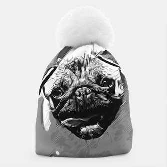 Miniatur gxp hungry pug dog vector art black white Beanie, Live Heroes