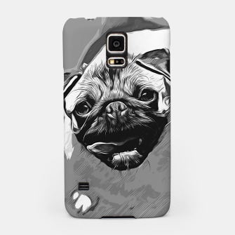 Miniatur gxp hungry pug dog vector art black white Samsung Case, Live Heroes