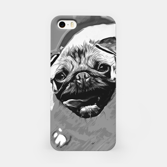 Miniatur gxp hungry pug dog vector art black white iPhone Case, Live Heroes