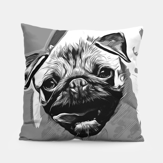 Miniatur gxp hungry pug dog vector art black white Pillow, Live Heroes