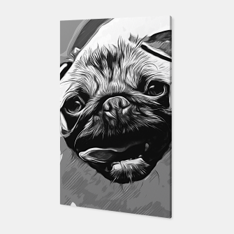 Miniatur gxp hungry pug dog vector art black white Canvas, Live Heroes