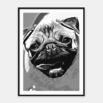 Miniatur gxp hungry pug dog vector art black white Framed poster, Live Heroes