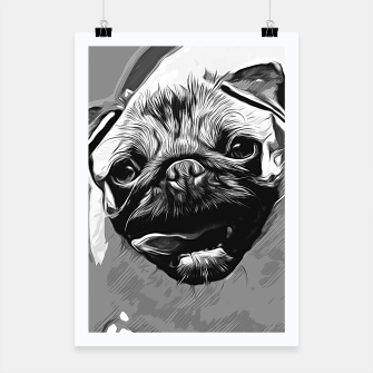 Miniatur gxp hungry pug dog vector art black white Poster, Live Heroes
