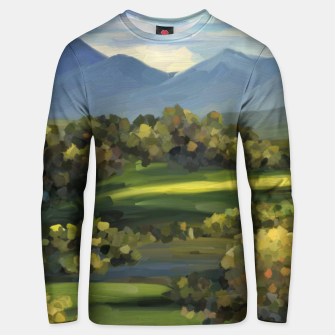 Thumbnail image of Blue Alps and Greenery Oil Impasto Cotton sweater, Live Heroes