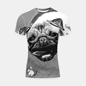 Miniatur gxp hungry pug dog vector art black white Shortsleeve rashguard, Live Heroes