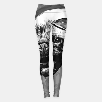 Miniatur gxp hungry pug dog vector art black white Leggings, Live Heroes