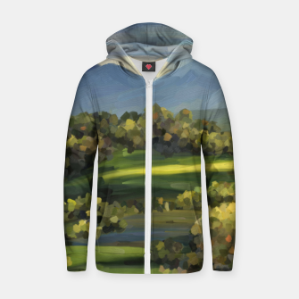 Thumbnail image of Blue Alps and Greenery Oil Impasto Cotton zip up hoodie, Live Heroes
