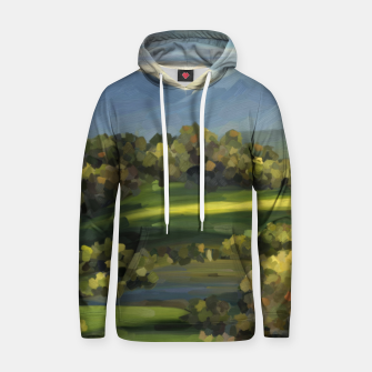 Thumbnail image of Blue Alps and Greenery Oil Impasto Cotton hoodie, Live Heroes