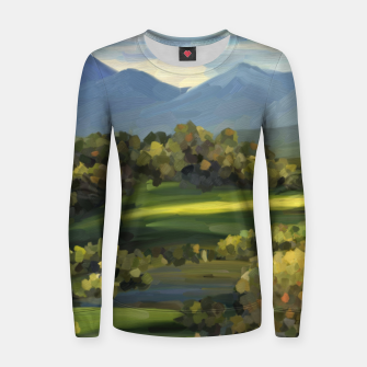Thumbnail image of Blue Alps and Greenery Oil Impasto Woman cotton sweater, Live Heroes