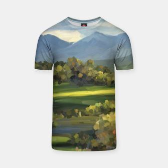 Thumbnail image of Blue Alps and Greenery Oil Impasto T-shirt, Live Heroes