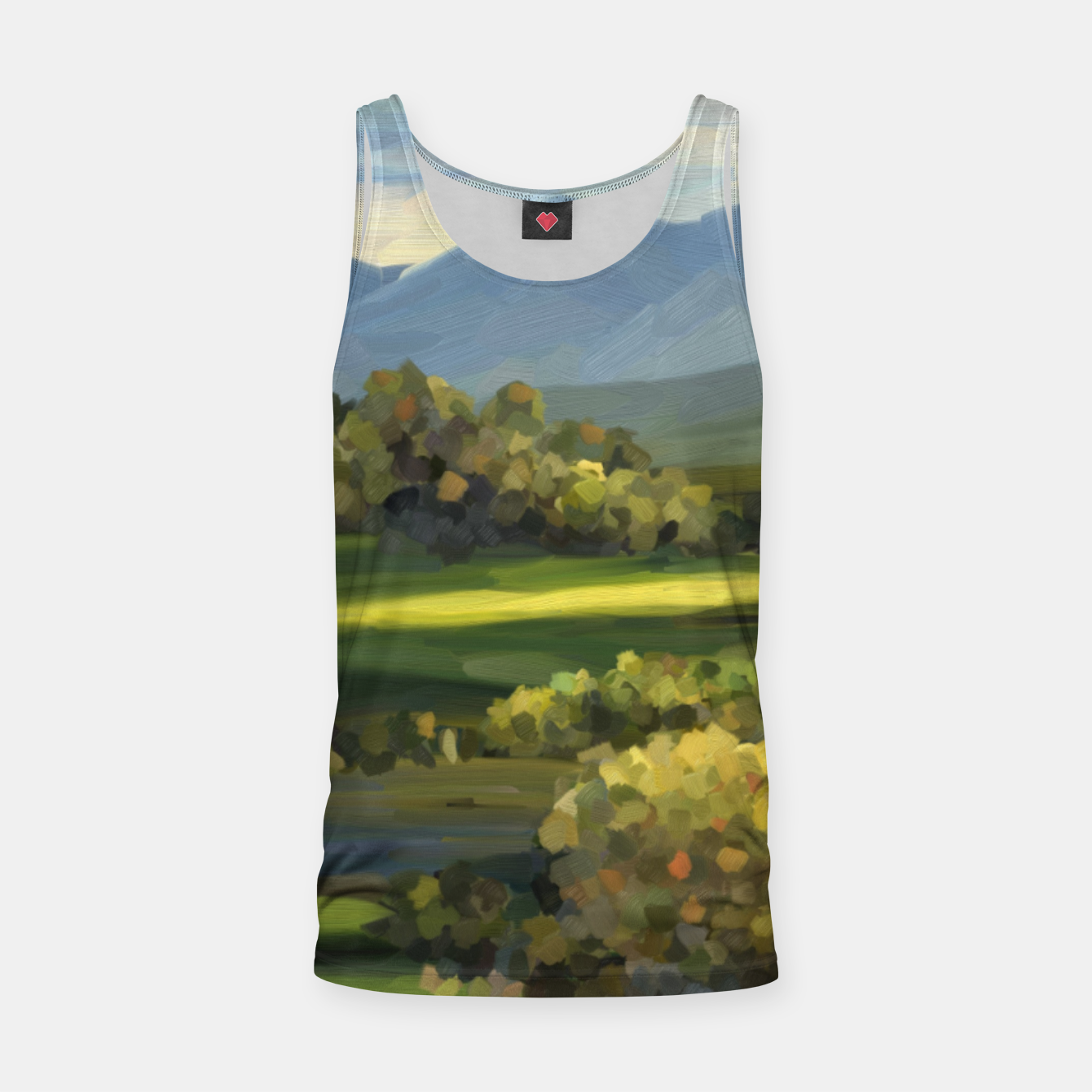 Foto Blue Alps and Greenery Oil Impasto Tank Top - Live Heroes
