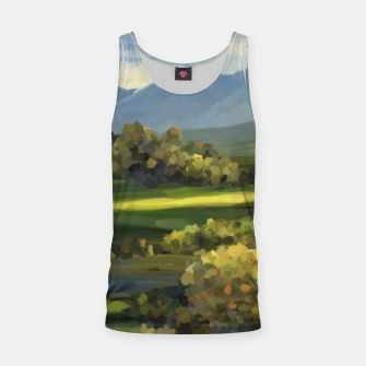 Thumbnail image of Blue Alps and Greenery Oil Impasto Tank Top, Live Heroes
