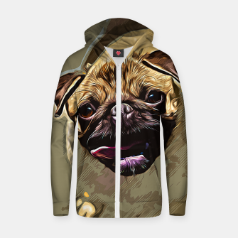 Miniatur gxp hungry pug dog vector art Cotton zip up hoodie, Live Heroes