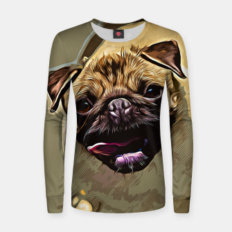 Miniatur gxp hungry pug dog vector art Woman cotton sweater, Live Heroes