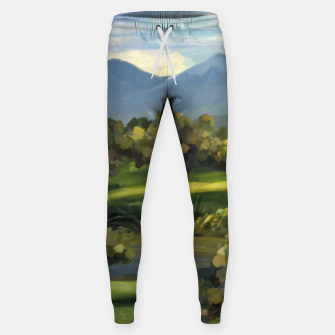 Thumbnail image of Blue Alps and Greenery Oil Impasto Cotton sweatpants, Live Heroes