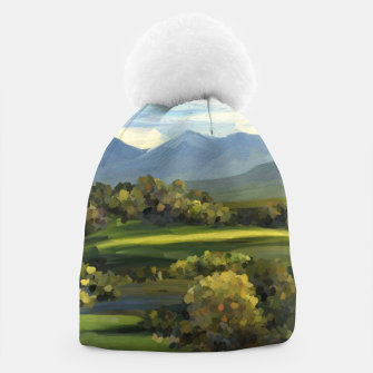 Thumbnail image of Blue Alps and Greenery Oil Impasto Beanie, Live Heroes