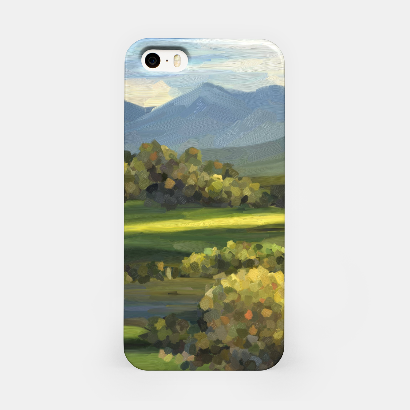 Foto Blue Alps and Greenery Oil Impasto iPhone Case - Live Heroes