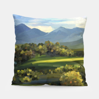 Thumbnail image of Blue Alps and Greenery Oil Impasto Pillow, Live Heroes