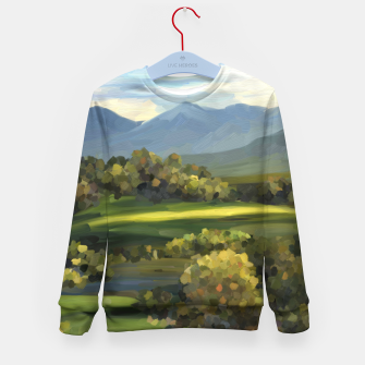 Thumbnail image of Blue Alps and Greenery Oil Impasto Kid's sweater, Live Heroes
