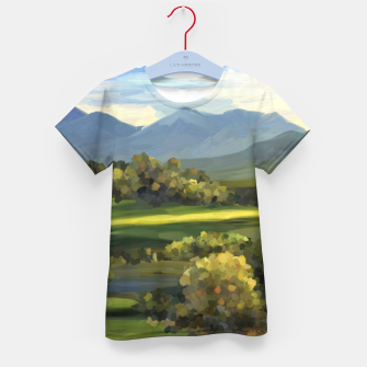 Thumbnail image of Blue Alps and Greenery Oil Impasto Kid's t-shirt, Live Heroes