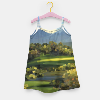 Thumbnail image of Blue Alps and Greenery Oil Impasto Girl's dress, Live Heroes