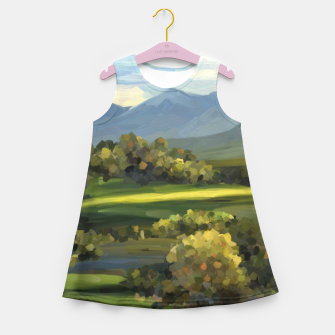 Thumbnail image of Blue Alps and Greenery Oil Impasto Girl's summer dress, Live Heroes
