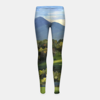 Thumbnail image of Blue Alps and Greenery Oil Impasto Girl's leggings, Live Heroes