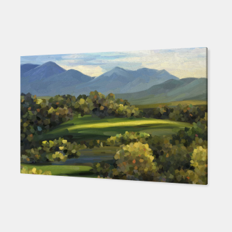 Thumbnail image of Blue Alps and Greenery Oil Impasto Canvas, Live Heroes