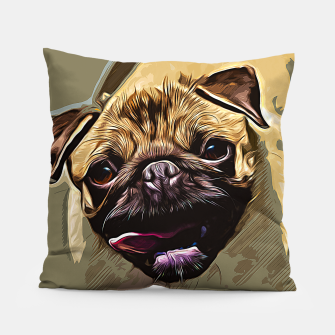 Miniatur gxp hungry pug dog vector art Pillow, Live Heroes
