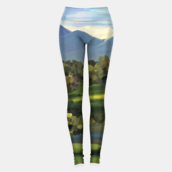 Thumbnail image of Blue Alps and Greenery Oil Impasto Leggings, Live Heroes