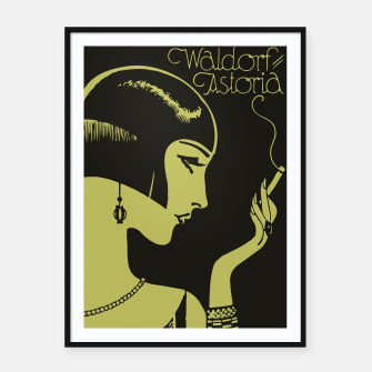 Thumbnail image of Art Deco smoking Framed poster, Live Heroes