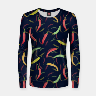 Thumbnail image of Watercolor Chilli Pepper Woman cotton sweater, Live Heroes