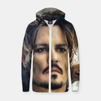 Thumbnail image of Johnny Depp Cotton zip up hoodie, Live Heroes