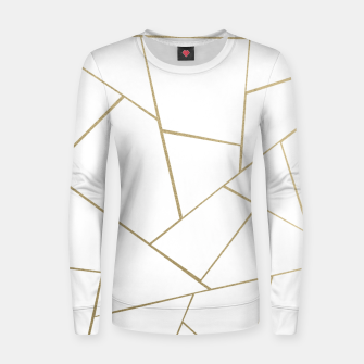 Thumbnail image of Gold White Geometric Glam #1 #geo #decor #art Frauen baumwoll sweatshirt, Live Heroes