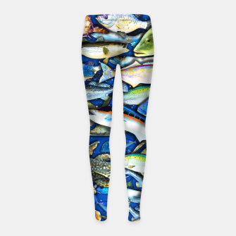 Thumbnail image of DEEP SALTWATER FISHING COLLAGE Leggings para niña, Live Heroes