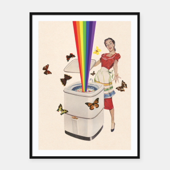 Thumbnail image of Rainbow Washing Machine Framed poster, Live Heroes