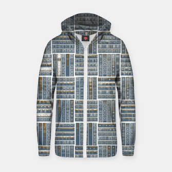 Thumbnail image of The Bookish Checkerboard Cotton zip up hoodie, Live Heroes