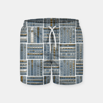 Thumbnail image of The Bookish Checkerboard Swim Shorts, Live Heroes