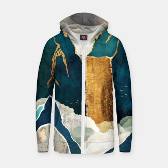 Thumbnail image of Golden Waterfall Cotton zip up hoodie, Live Heroes