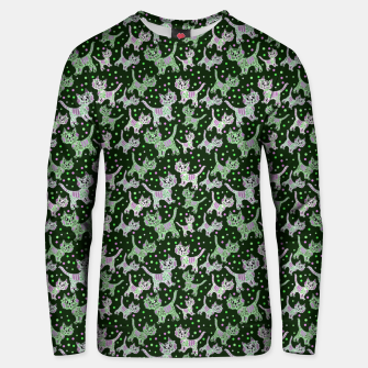 Thumbnail image of Funny cats green Cotton sweater, Live Heroes