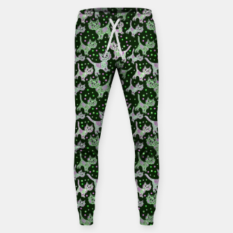 Thumbnail image of Funny cats green Cotton sweatpants, Live Heroes