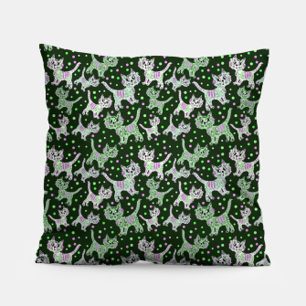 Thumbnail image of Funny cats green Pillow, Live Heroes
