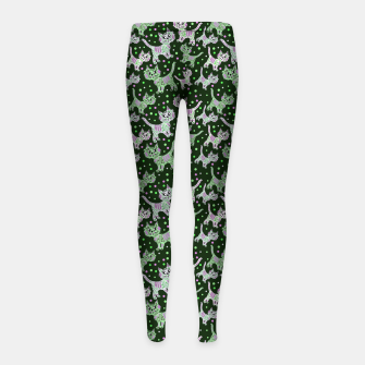 Thumbnail image of Funny cats green Girl's leggings, Live Heroes
