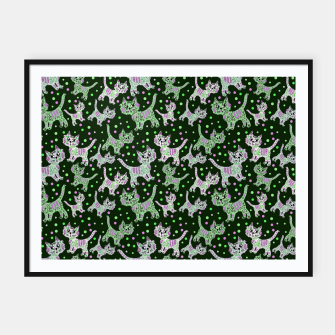 Thumbnail image of Funny cats green Framed poster, Live Heroes