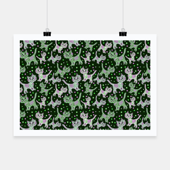 Thumbnail image of Funny cats green Poster, Live Heroes