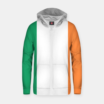 Miniatur Irish Tricolour Green Orange and White Irish Flag Cotton zip up hoodie, Live Heroes