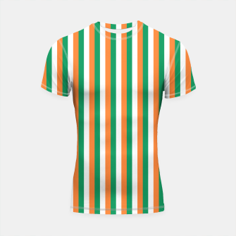 Miniatur Irish Tricolour Horizontal Stripes Green Orange and White Irish Flag Shortsleeve rashguard, Live Heroes